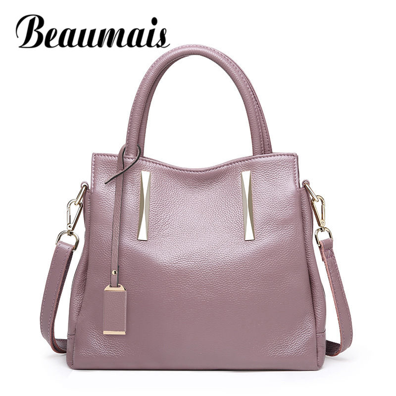 Beaumais Fashion High Quality Women Handbag Genuine Leather Shoulder Bag Women Luxury Brand Women Messenger Bags DF0182 2018 brand designer women messenger bags crossbody soft leather shoulder bag high quality fashion women bag luxury handbag l8 53
