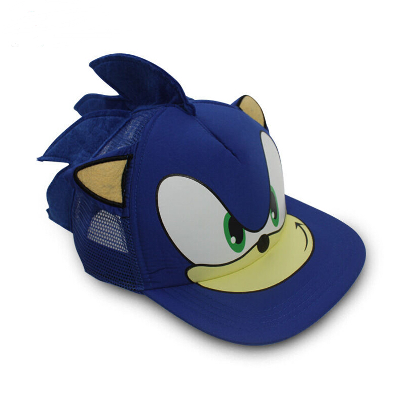 Sonic The Hedgehog Cosplay Costume Blue Sun Hat Adjustable Baseball Net Cap Headwear Gift