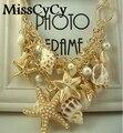 MissCyCy 2016 Новый Дизайн Способа Высокого Качества Большой Нагрудник Заявление Ожерелья Раковины Морская Звезда имитация жемчужные Ожерелья Для Женщин