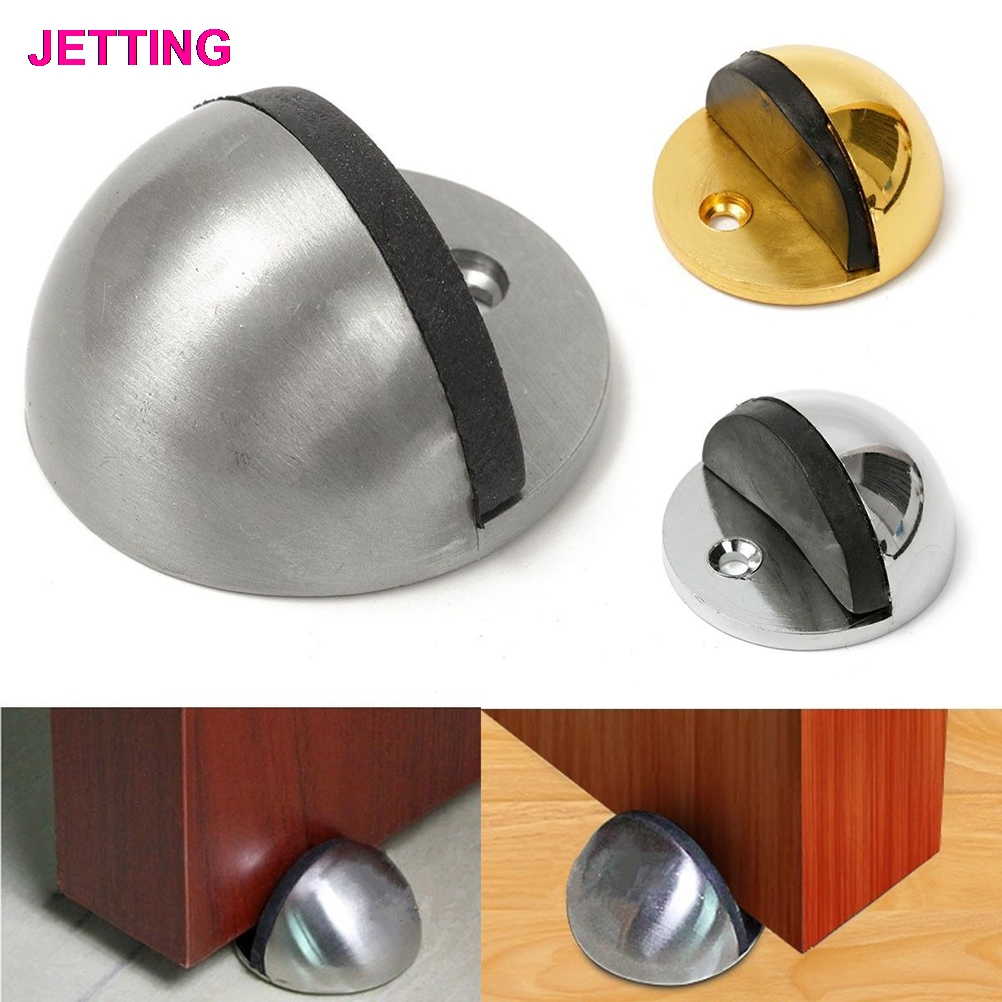 1PCS 43mm Dia Casting Floor-mounted Door Stops APS Zinc alloy Satin Chrome Half Moon Door Stopper Wood Door Holder