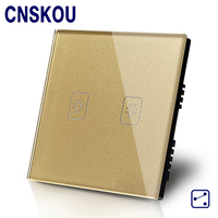 CNSKOU British Standard 2 Gang 2 Way AC220 250V Waterproof Glass Cover Plate Intelligent Led Indicator