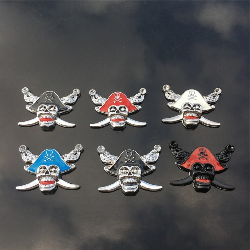 New Arrival car-styling 3D Skull Metal Skeleton Crossbones For Auto Car Sticker Pirate Skull Design Stikcers car styling sticker