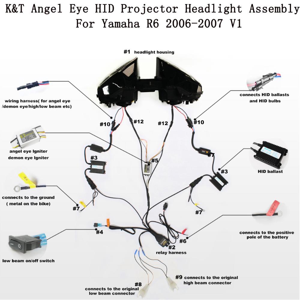Kt Headlight For Yamaha Yzf R6 2006 2007 Led Angel Eye Motorcycle Jeep Diagram Hid Projector Assembly On Alibaba Group