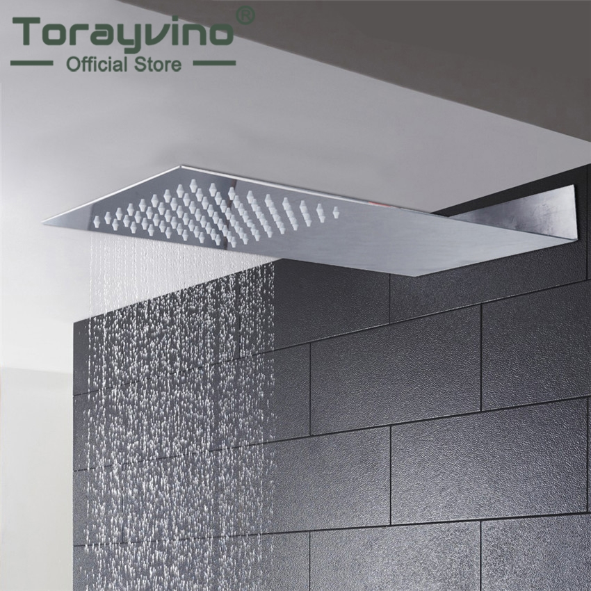 Torayvino Super Thin Perfect Luxury Hot Sale Square Rain Shower Head Wall Ceiling Mounted Top Over-head Shower Sprayer luxury led color changing golden brass rain round shower head wall mounted over head sprayer
