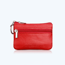 Artmi Lady Genuine Leather Change Wallet RFID Blocking Zipper Change Purse Coin Wallet with Key Ring zoress women genuine leather coin purse with key ring candy color lady s triple zipper mini credit card holder wallet
