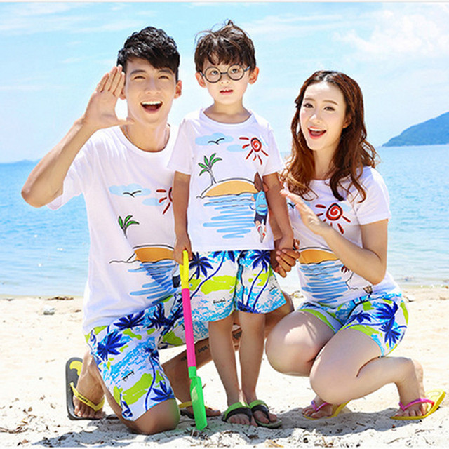 2016 summer new family matching outfit family clothing set family look family matching clothes for seaside Holidaies