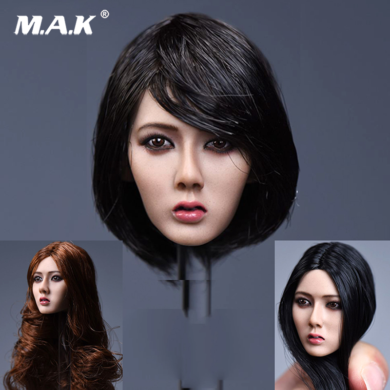1/6 Scale Asia Female Short Black Hair Head Sculpt  Long hair Xiu Girl Head Model F 12 HT Female Suntan Colo Action Figure Doll 1 6 scale figure accessories doll female head for 12 action figure doll head shape fit phicne
