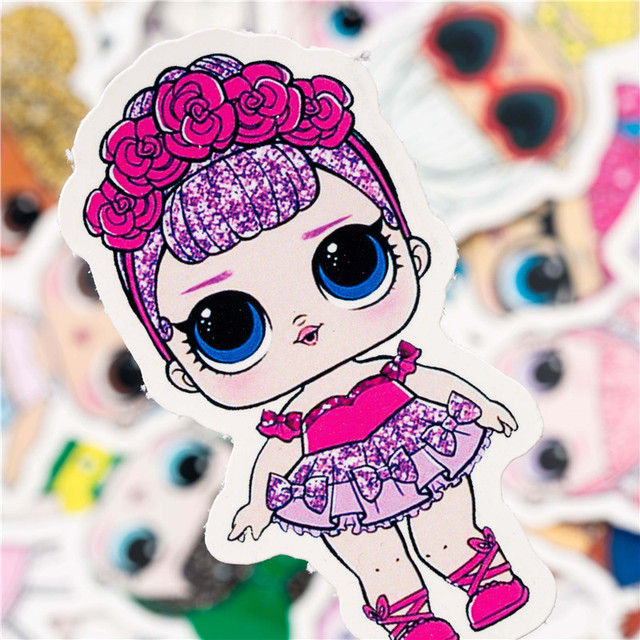 35PCS LOL Doll Sticker Cartoon Sexy Girl Sticker Set For Children Travel Case Bicycle Laptop Notebook Kid Toy Anime Stickers