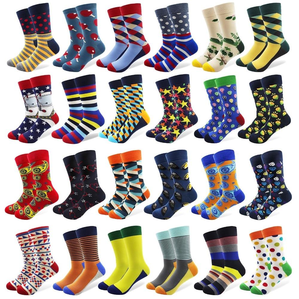 Taranmış Pamuk Erkekler Çorap Desen Çapa Sakal Ekip Renkli Komik - Erkek Giyim