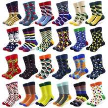 Combed Cotton Men Sokker med mønster anker Beard Crew farvede sjovt Happy Socks Cool Man Sox Gave Lang Harajuku