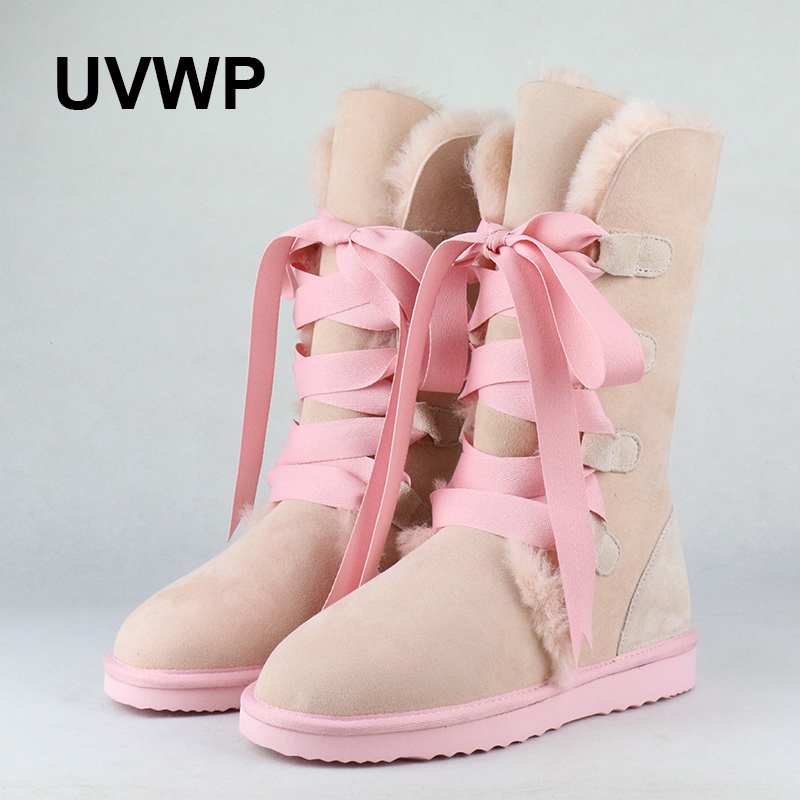 UVWP  Fashion High Snow boots Women boots 100% Genuine Sheepskin Leather Lace up Long boots Natural Fur Warm Wool Winter Boots 500g x 0 01g digital pocket scale lcd balance electronic scales high precision weighing calculation time temperature