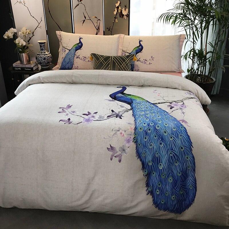 100% coton ponçage imprimé fleur literie ensemble mariage lit feuille ensemble housse de couette taie d'oreiller reine roi 4 pièces Animal paon oiseau - 4