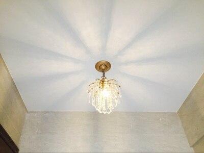 Or 1 pièces porche lumière café salle à manger Mini pendentif lampe en cristal Led méditerranée mer E27 fer cristal cuisine éclairage - 6