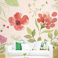 Free Shipping Warm Pastoral Wallpaper Floral Watercolor Bedroom Living Room TV Backdrop Wallpaper Jane Seamless Large