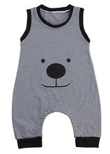 sleeveless romper 2016 wholesale newborn infant baby boy cartoon bear printed romper outfit clothes