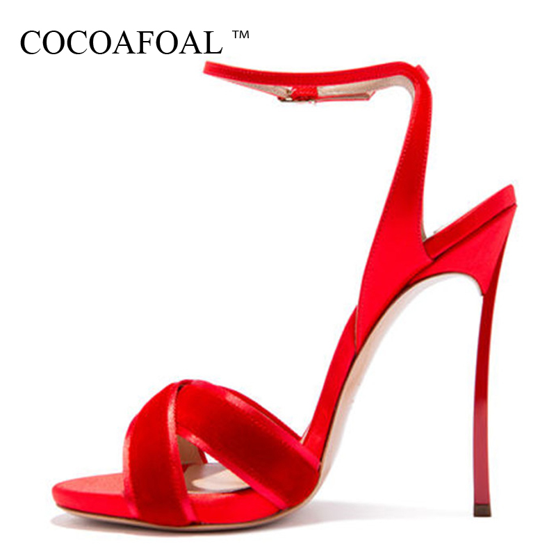 COCOAFOAL Women Red Wedding Sandals Plus Size 33 - 43 12 CM High Heels Sandals Party Sexy Black Woman Shoes Summer Pumps 2018 fashion buttons rivet studs high heels designer gladiator sandals red black women pumps party dress sexy wedding shoes woman