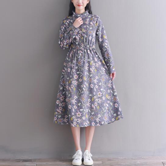 Autumn Winter Corduroy Dress 2018 New Literary Women Ruffled Collar Long Sleeve Floral Printed Vintage Dresses Cotton Vestidos