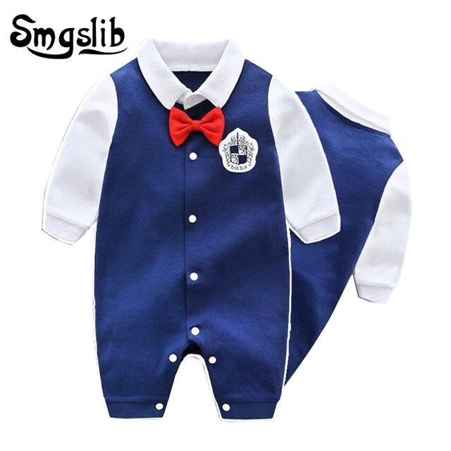 2698b3beccd2 Gentleman baby boy romper Newborn Wedding Clothes Baby Rompers Long ...