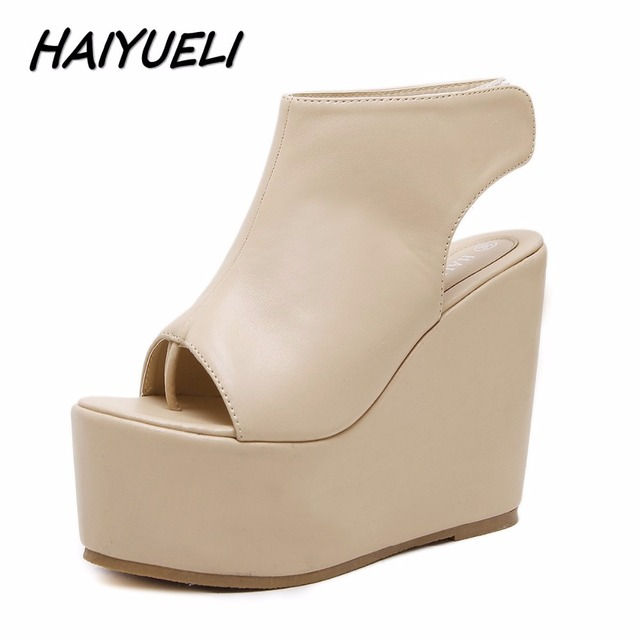 b695cd71f9d864 HAIYUELI new summer fashion women wedge sandals flip flop casual shoes woman  girls high heels platforms sandals thick bottom
