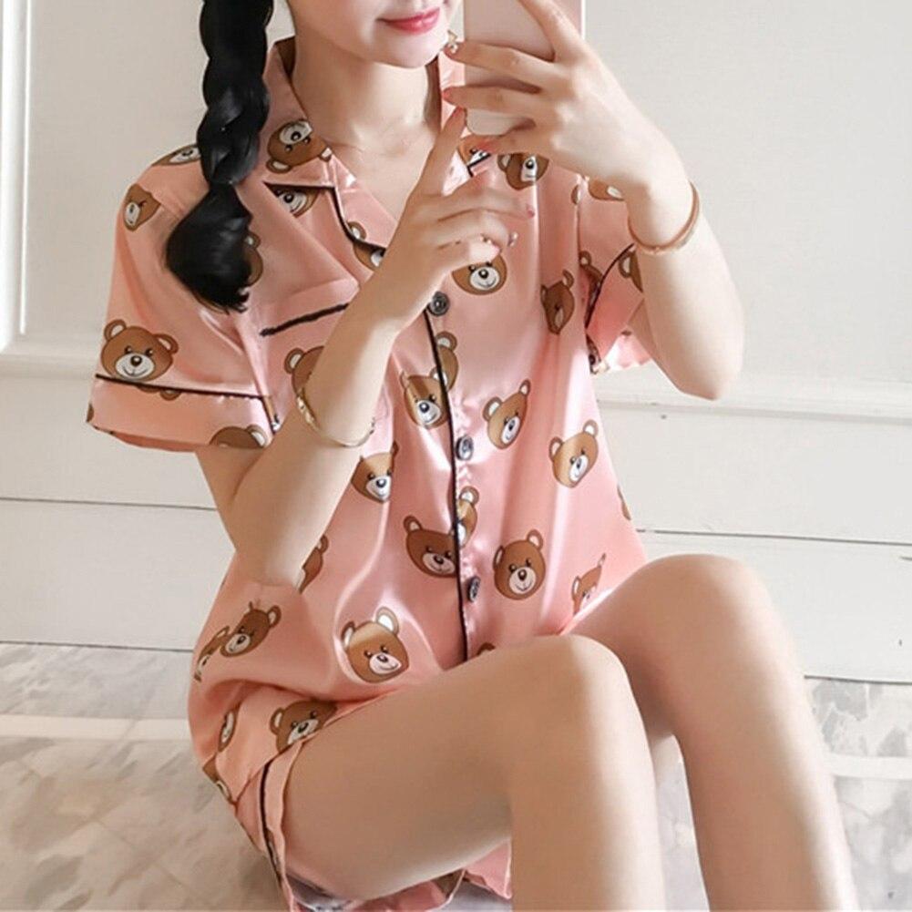 Summer Short Sleeve Silk Pajamas Set Two Pieces Set Cute Bear Printing Women Sleepwear Sexy Nightwear For Women Sleeping Set