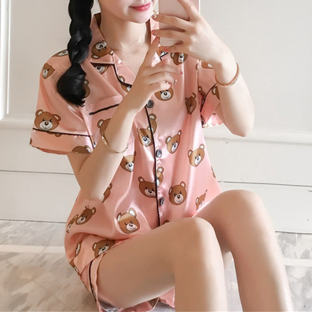 Summer Short Sleeve Silk   Pajamas     Set   Two Pieces   Set   Cute bear Printing Women Sleepwear Sexy Nightwear for Women Sleeping   set