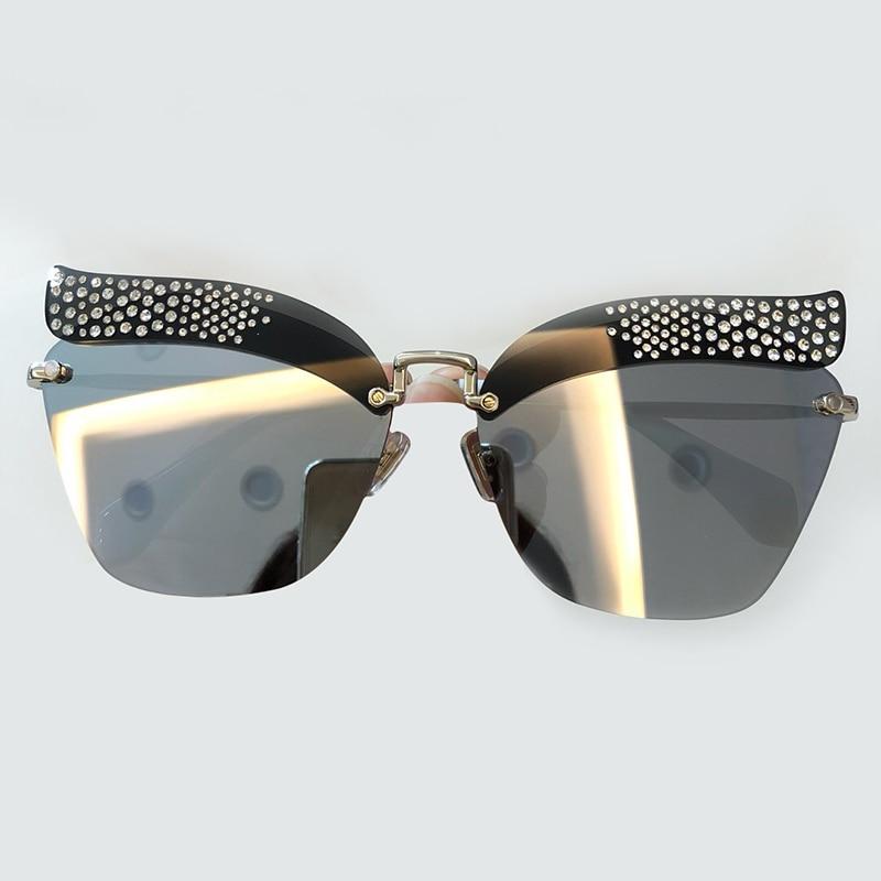 High Quality Women Cat Eye Sunglasses 2019 Fashion Luxury Brand Designer Rimless Female Sunglasses Oculos De