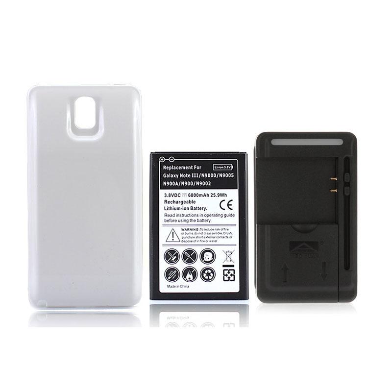 <font><b>Phone</b></font> <font><b>Battery</b></font> For <font><b>Samsung</b></font> Galaxy Note 3 N9000 N9005 6800mAh Extended Replacement Mobile <font><b>Cell</b></font> <font><b>Battery</b></font> + Back Cover+Charger