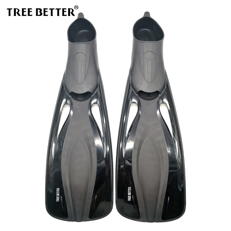 TREE BETTER Diving Fins for adults Professional Snorkeling Swimming fins long Flexible flippers Submersible shoe Black 36 to 48