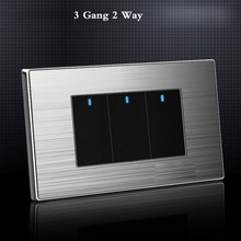 цены Us Standard 3 Gang 2 Way Light Switch With Led Indicator On / Off Wall Switch Stainless Steel Panel 118mm * 72mm