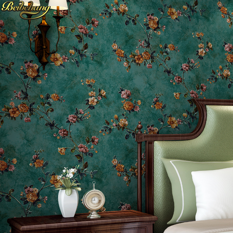 US $33.8 35% OFF|beibehang Vintage Green American Garden Wallpapers Bedroom  Living Room Sofa Background floral wall papers home decor wallpaper-in ...