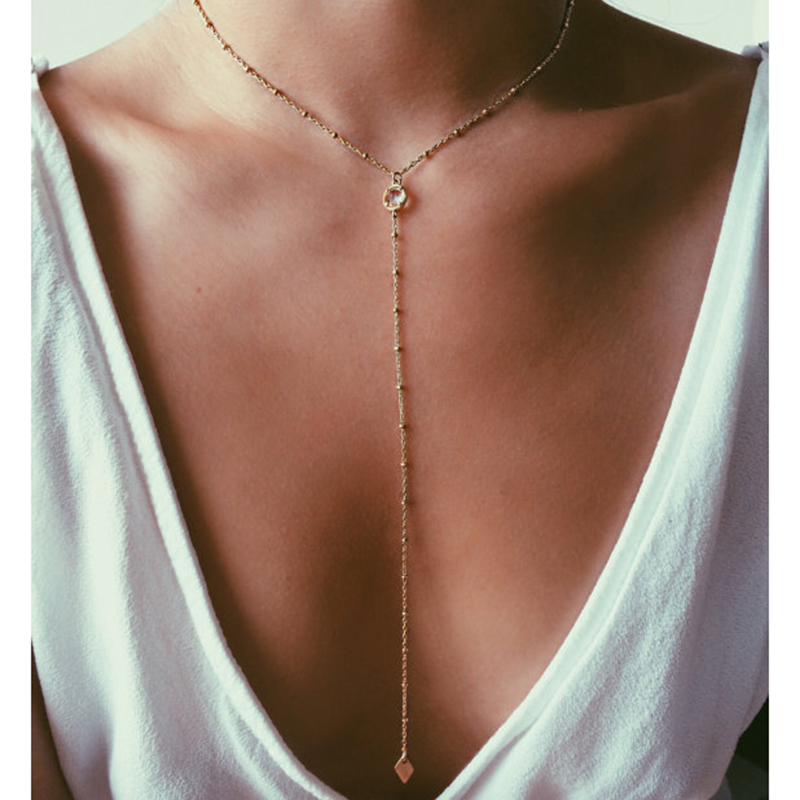 2017 Simple Gold Color Sexy Y Shape Crystal Choker ...