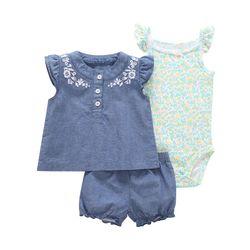 Комплект одежды для маленьких девочек из 3 предметов, летние топы для маленьких девочек + боди + шорты, мягкая хлопковая одежда для маленьких ...