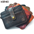 KEENICI Ultra-thin Genuine Leather Credit Card Wallet Cow Leather Id Card Pack Bank Card Holder Business Small Purse Brand Black
