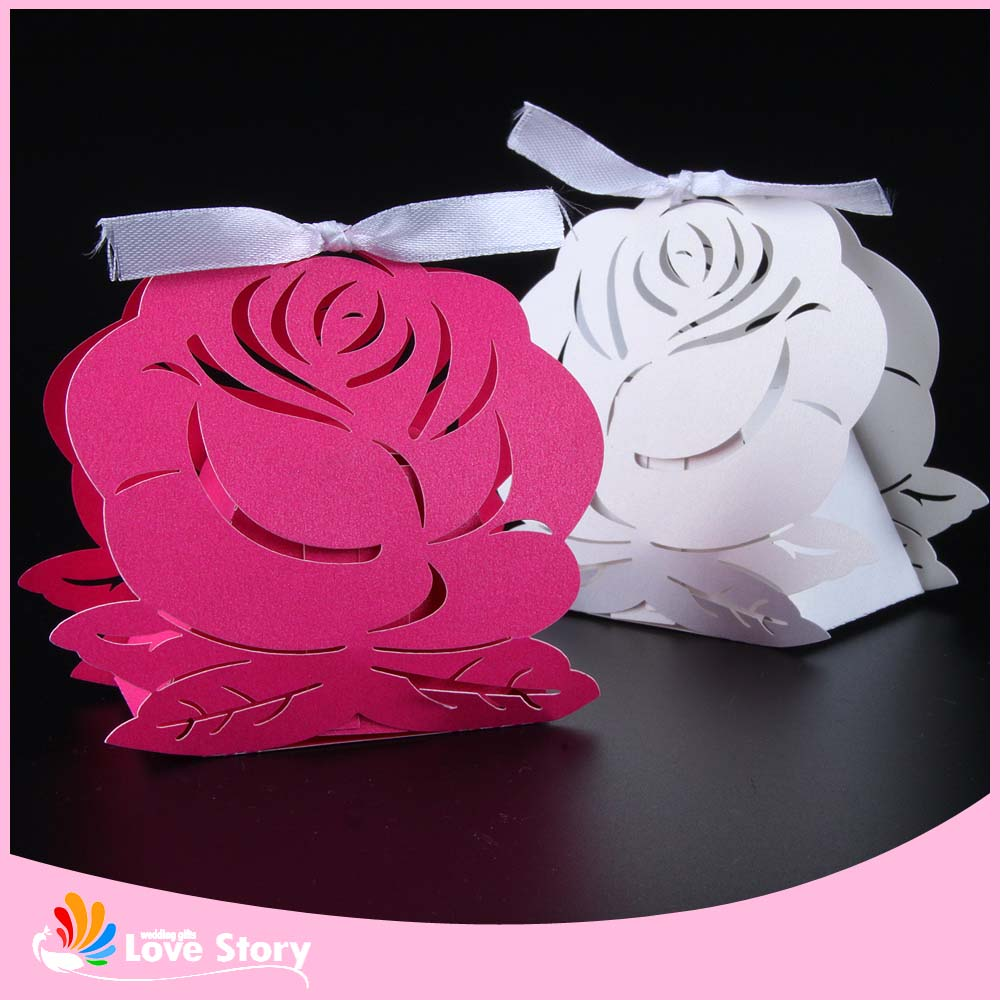 50pcs flower Laser Cut wedding paper candy box party favors gift box ...