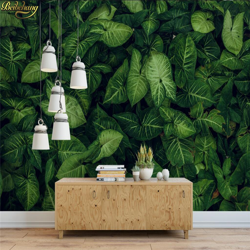 Us 885 41 Offbeibehang Custom Wallpaper Large Mural Wall Stickers Fresh Green Tropical Rain Forest Leaves Full House Tv Backdrop Wall In