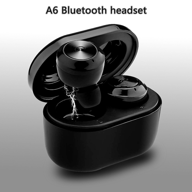 8cf864179bc Bluetooth 5.0 headset new Air twins A6 TWS binaural stereo mini wireless  headsets with charging compartment Bluetooth Earphones