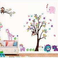 % Extraíble Animal Mono y Árboles etiqueta de La Pared habitación de los niños dormitorio sala de estar pegatinas nevera Flor búho decoración Del hogar Del Arte poster