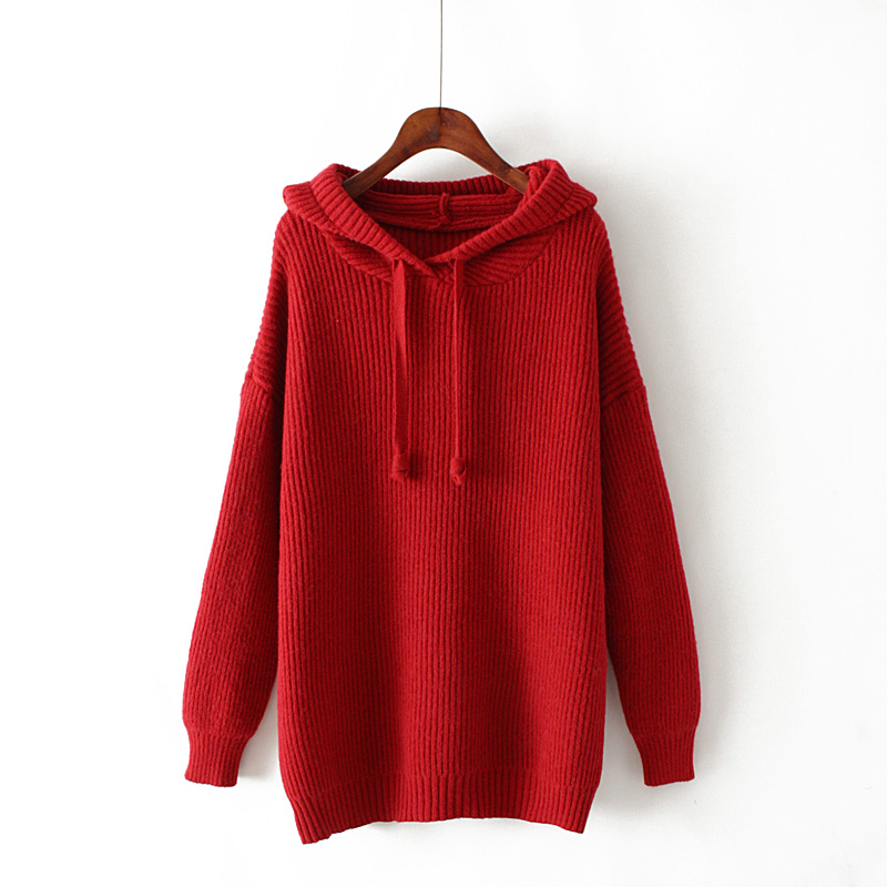s2b Large size new women s loose wild hooded solid color pullover sweater winter Korean version