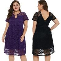 YSMARKET XL 5XL Black Purple Plus Size Lace Dresses For Women Casual Clothes Wear To Work Summer Sexy Midi Dress A Line E220543