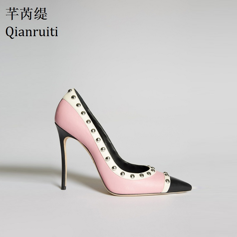 Qianruiti Pink White Patchwork Leather High Heels Shoes Kim Kardashian Style Studded Rivets Women Shoes Pointed Toe Women Pumps romyed bridals wedding shoes kim kardashian pumps superstar shoes top quality flowers evening christian shoes size 4 16 shofoo