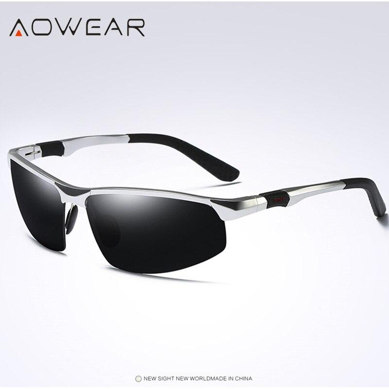 Новое поступление, мужские солнцезащитные очки AOWEAR, поляризационные, спортивные, солнцезащитные очки, мужские, UV400, антибликовые, для улицы, для вождения, зеркальные оттенки, для gafas - Цвет линз: Silver Black