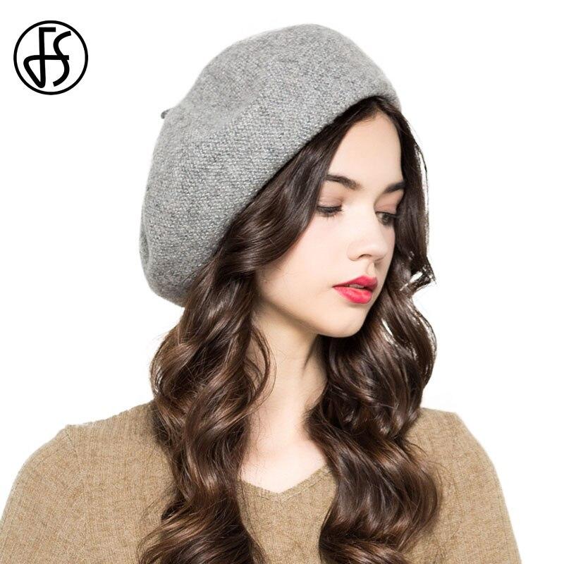 FS invierno Vintage gris rosa azul de lana boina sombrero para las mujeres  Espana francés boinas de para damas plegable de punto Casual pintor  sombreros en ... 3aef719ccde