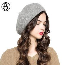 FS invierno Vintage gris rosa azul de lana boina sombrero para las mujeres  Espana francés boinas 70901a18a3b