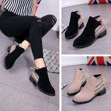 2019 New Shoes Women Flcok Boots Wedges Low Zipper Middle Tube Boots Casual Shoes Martin Boots botines mujer(China)