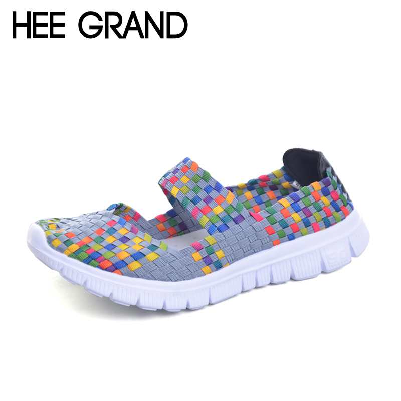 HEE GRAND Casual Shoes Woman Summer Loafers 2017 New Slip On Flats Weave Creepers Comfort Women Sandals Plus Size 35-41 XWC1114 hee grand lace up gladiator sandals 2017 summer platform flats shoes woman casual creepers fashion beach women shoes xwz4085