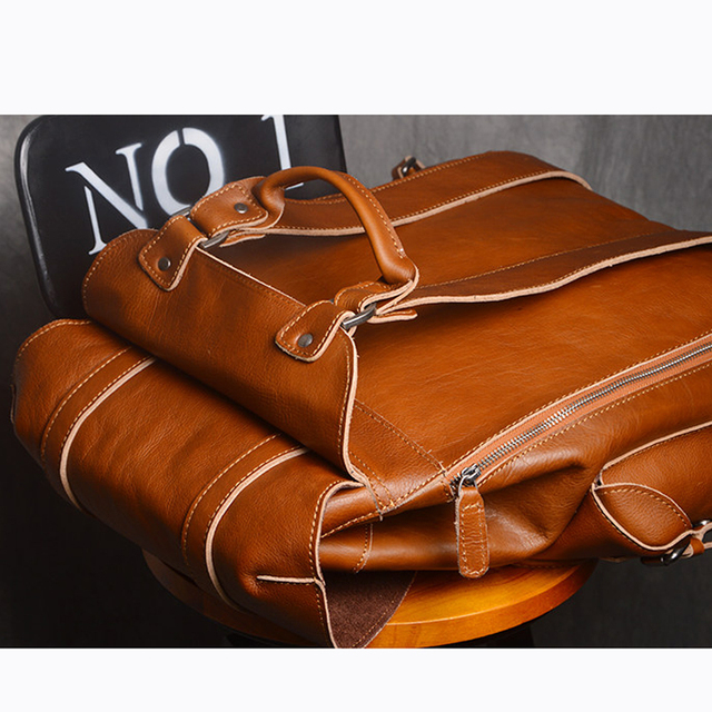 AETOO New leather men's shoulder bag European and American fashion first layer of leather multi-functional travel bag casual bac 5