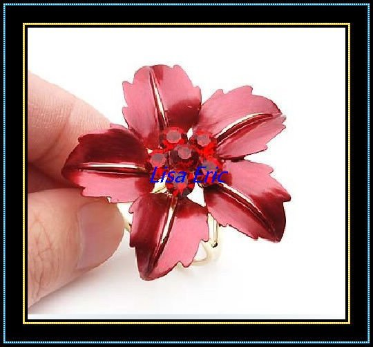 Scarf Button Brooch Big Red Flower Scarf Button Special Design New Arrival Hot Sale Mix Order 10pcs