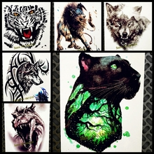 Black Cat Leopard Waterproof Temporary Tattoo Panther Tree Branch Brave Heart Fake Flash Tattoo Stickers 21&15CM Men Women Tatoo