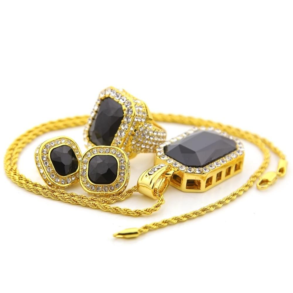 Hip Hop Womens Octagon Square Rinestone Pendants Necklace Rings Earrings  Bling Imitation Diamond Blue Red Stone