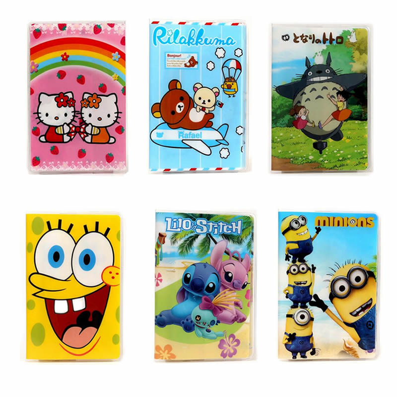 6 Styles Fashion Cartoon Minions Sponge Bob Passport Holder  Passport Cover Passport Package Travel Card Holder Bag 14*9.6cm love and clouds two kinds of styles passport cover passport holder luggage tag silicone strap three pieces